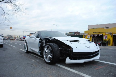 2015 Chevrolet Corvette Stingray C7 White Wrecked for sale
