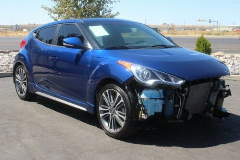 low mileage 2017 Hyundai Veloster Turbo repairable for sale