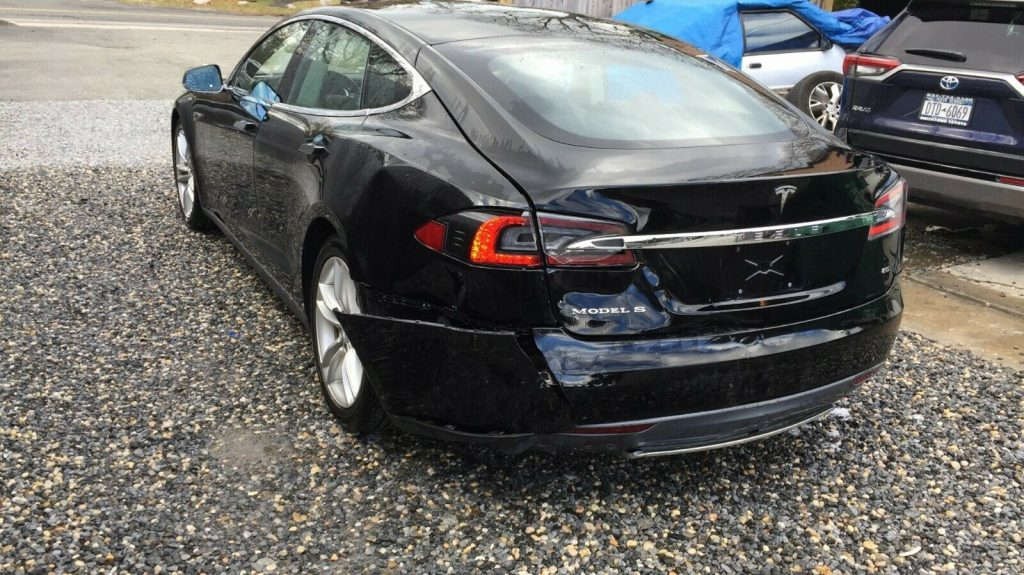 rear damage 2012 Tesla Model S 85 repairable